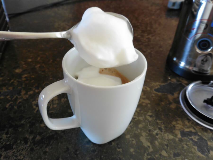 Super foamy milk produced by the Nespresso Aeroccino Plus Milk Frother