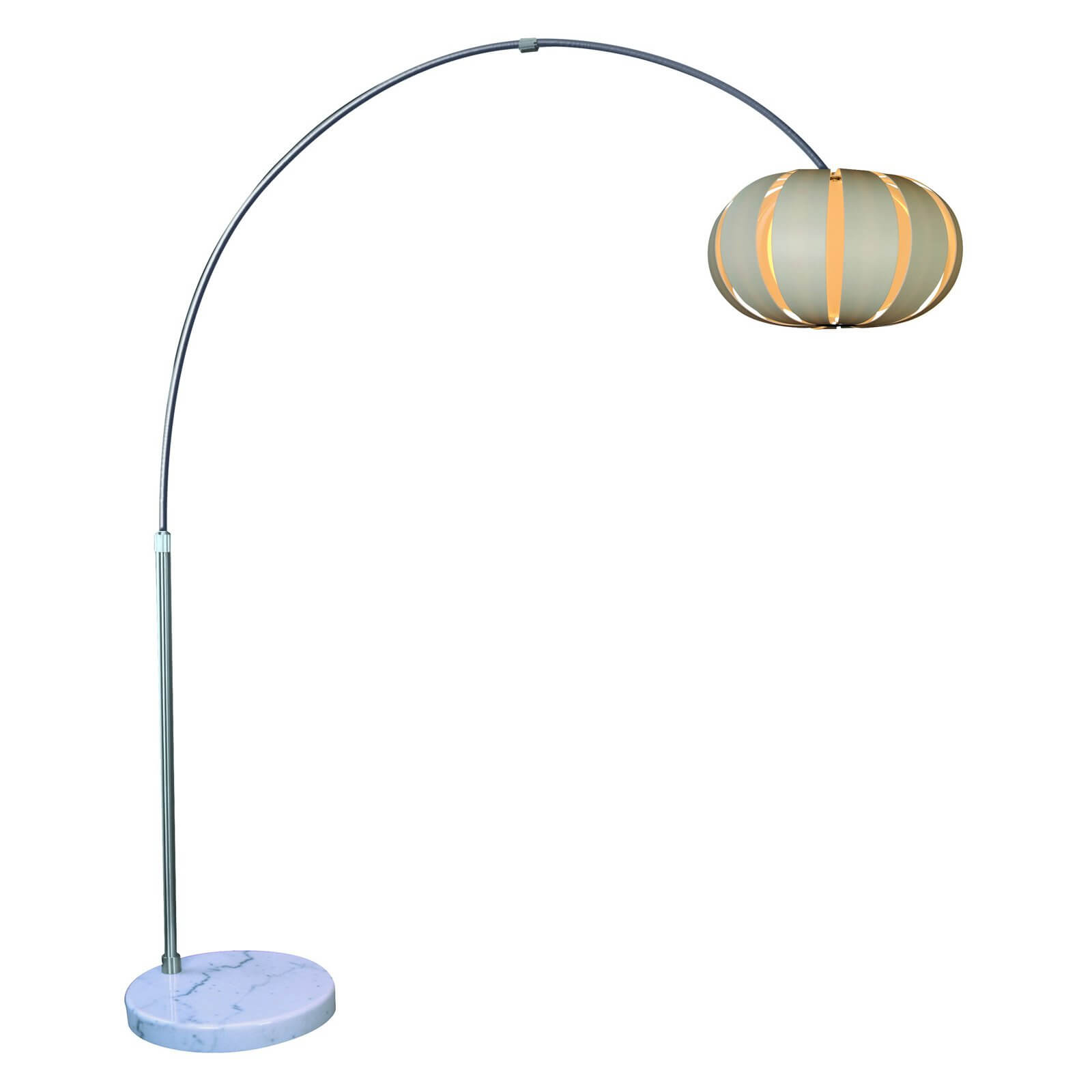 The first example here features metallic construction, with a curved spine over marble base, holding a spherical white petal shade.