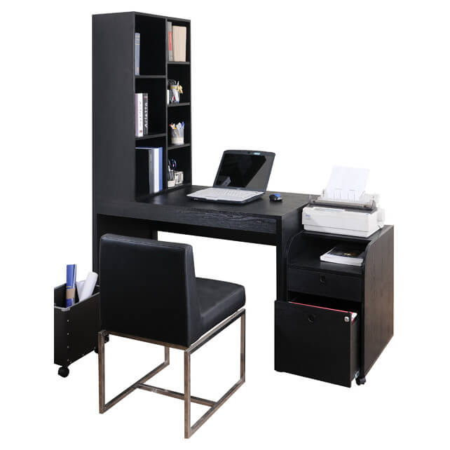 A black desk holds a slightly more modern tone than traditional natural wood styles, yet retains a more stately, serious look. Metal frame desks often come in black as well.