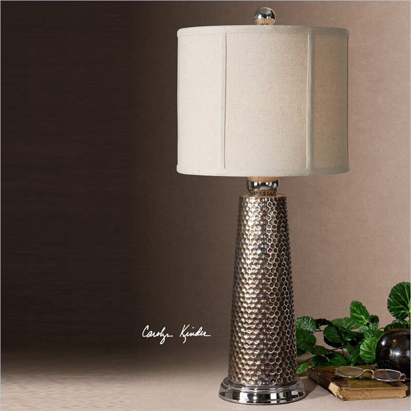 Our first buffet lamp is a metal creation in contemporary styling.