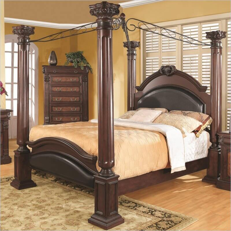 A canopy bed is a decorative bed style similar to the poster. A typical  example .