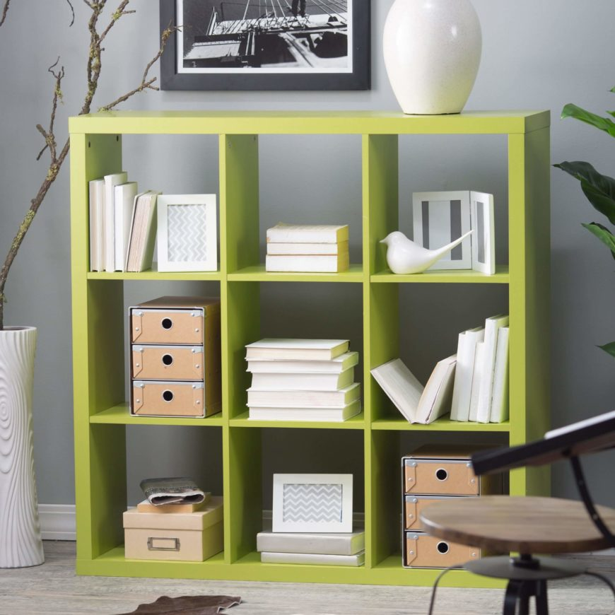 Cube bookcases, as the name implies, feature a series of cubic spaces to store your books and things. The designs are either square or rectangular framed, to accompany a symmetrical array of cubes.