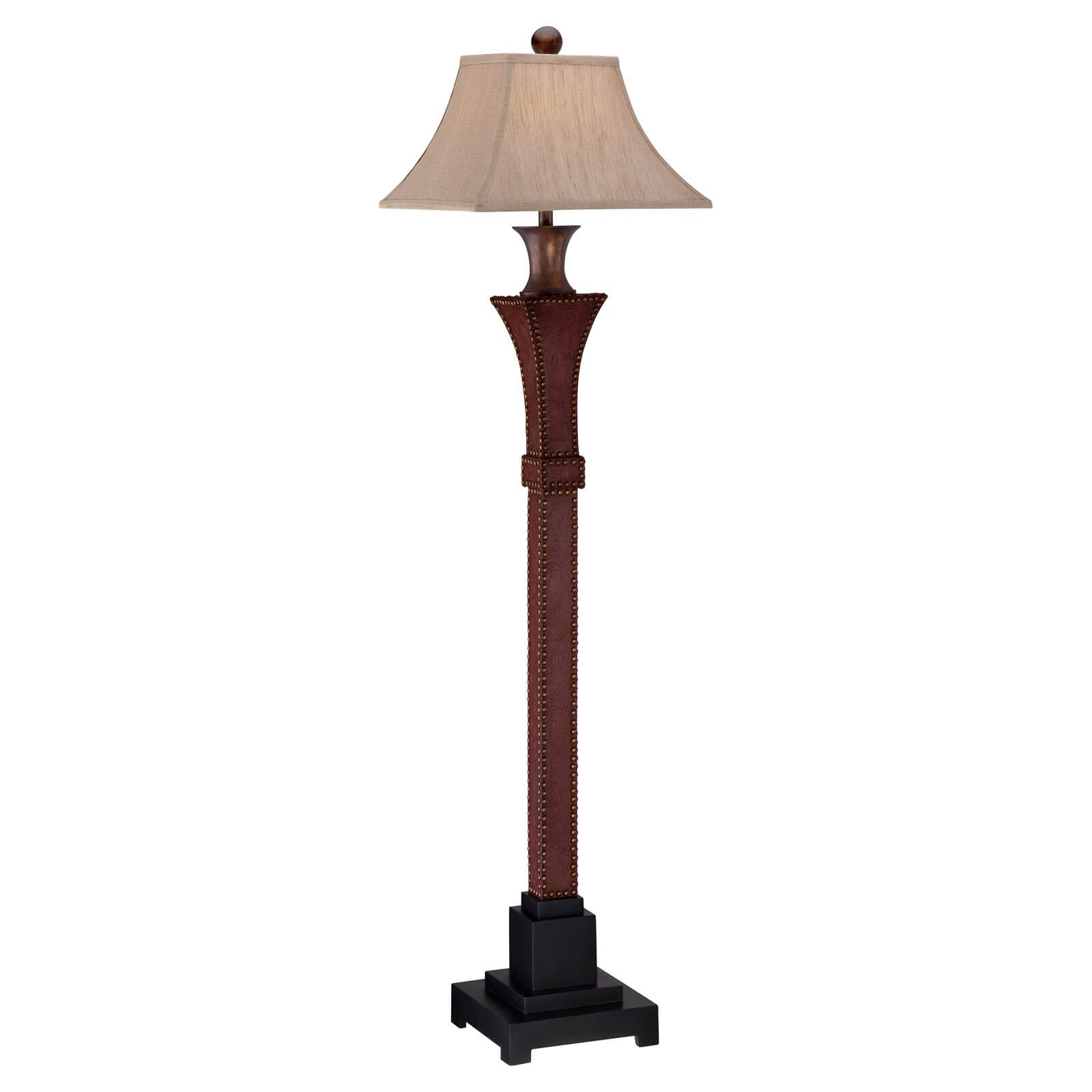 Our first example of a standard design floor lamp is this leather-wrapped wooden model.