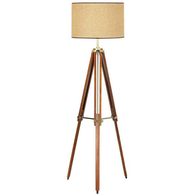 Our second standard floor lamp stands in a striking wood tripod design.