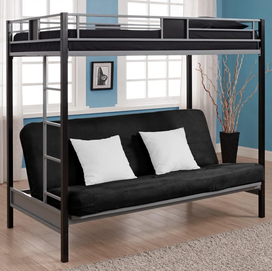 These bunk beds combine a standard upper level bed with a lower level  futon, for