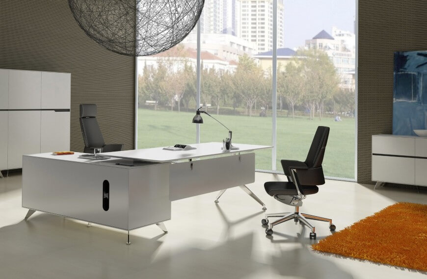 Modern L Shaped White Desk