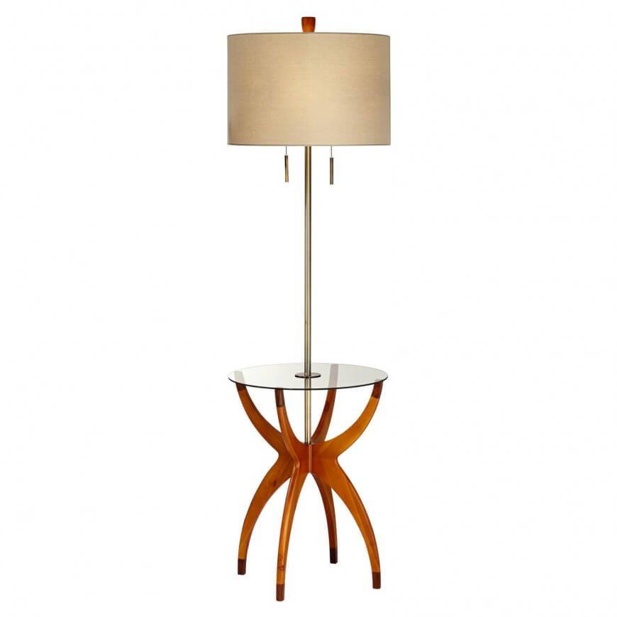 this modern styled example features bright carved natural wood base holding a seamless glass circular tabletop