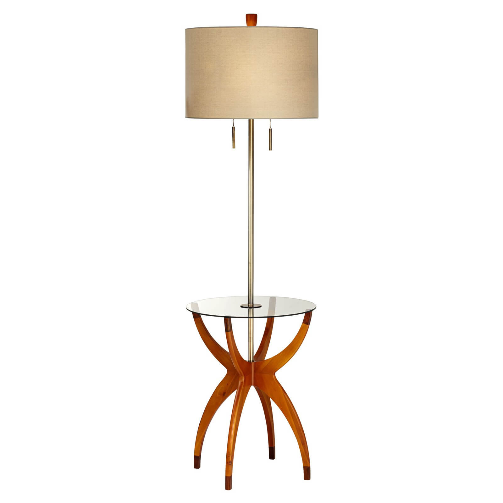 This modern styled example features bright carved natural wood base holding a seamless glass circular tabletop beneath a nickel frame and standard cylinder shade.