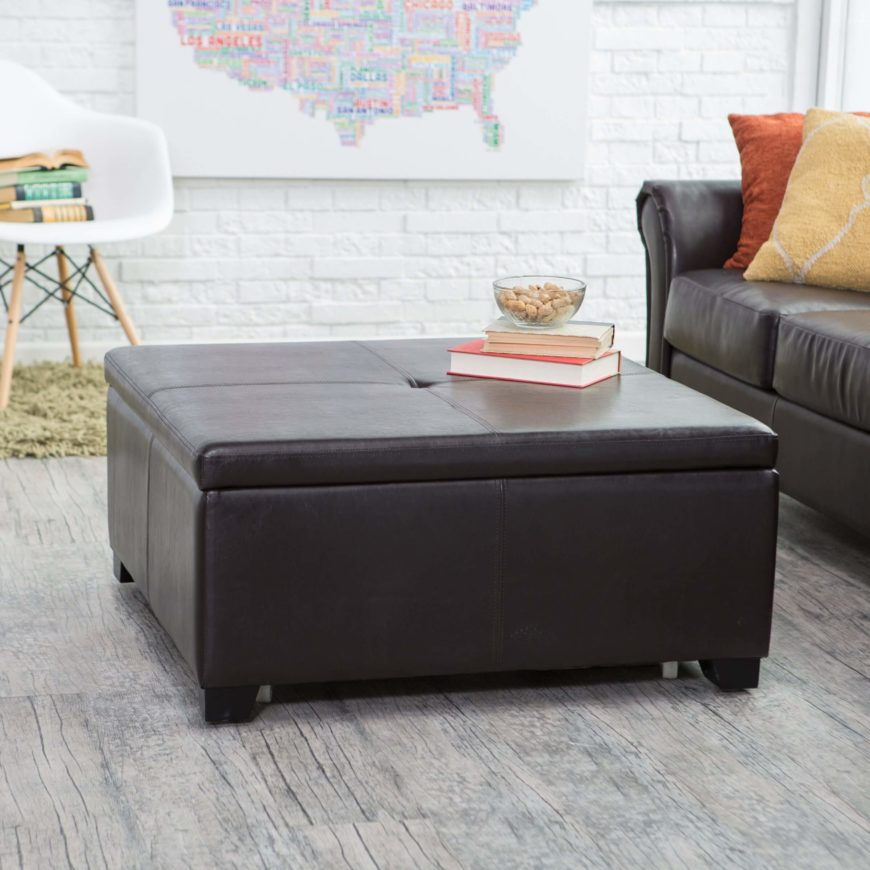 Leather upholstery is the quintessential luxury option, granting a rich sense of texture and style to any space. Often in brown, but found in black as well, leather ottomans are found in a wide breadth of style and shape to suit any space.