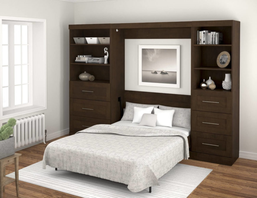 Murphy beds are designed to save space in a unique way, by hinging the frame so that the bed itself can be tilted vertically and stored in a closet or cabinet.