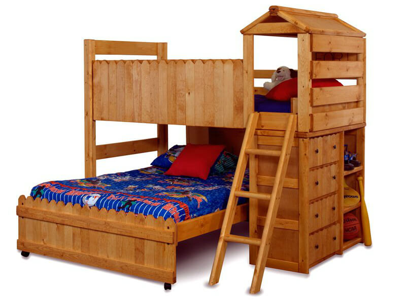 Novelty fort style bunk bed with tower and dressers.