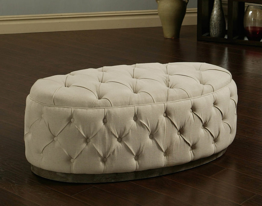 The oval ottoman gives off a particularly luxurious air. With the width to accommodate more than one person at a time, they're a functional and visually appealing variant.