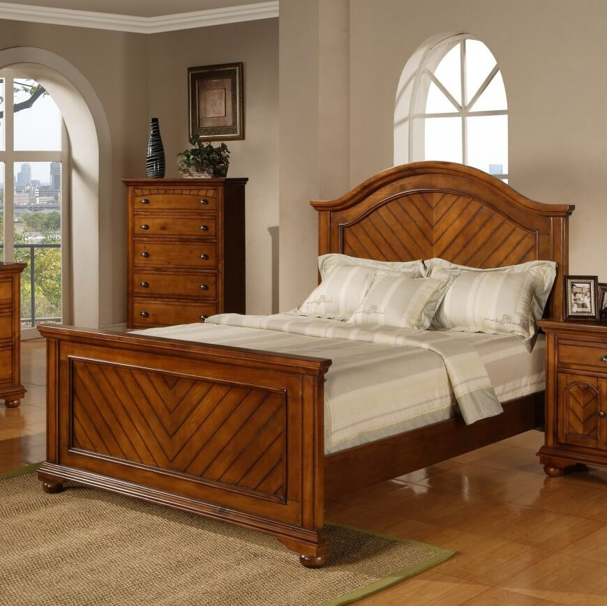 a panel bed consists of a headboard and footboard made from flat panels of wood