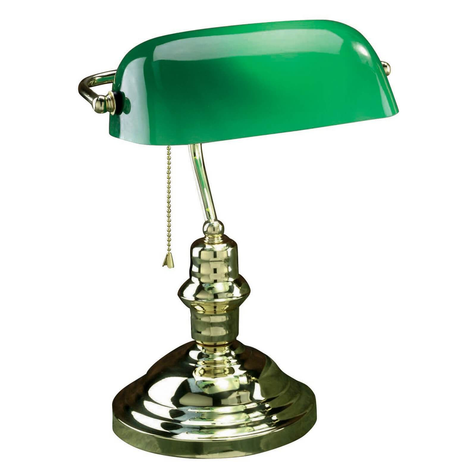 Our first model is the classic green glass shade design, which you may recognize from countless films and possibly your own parents or grandparents' homes.