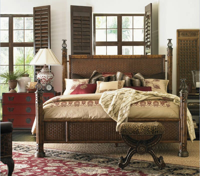 rattan or wicker is a style where material is woven into a hard surface
