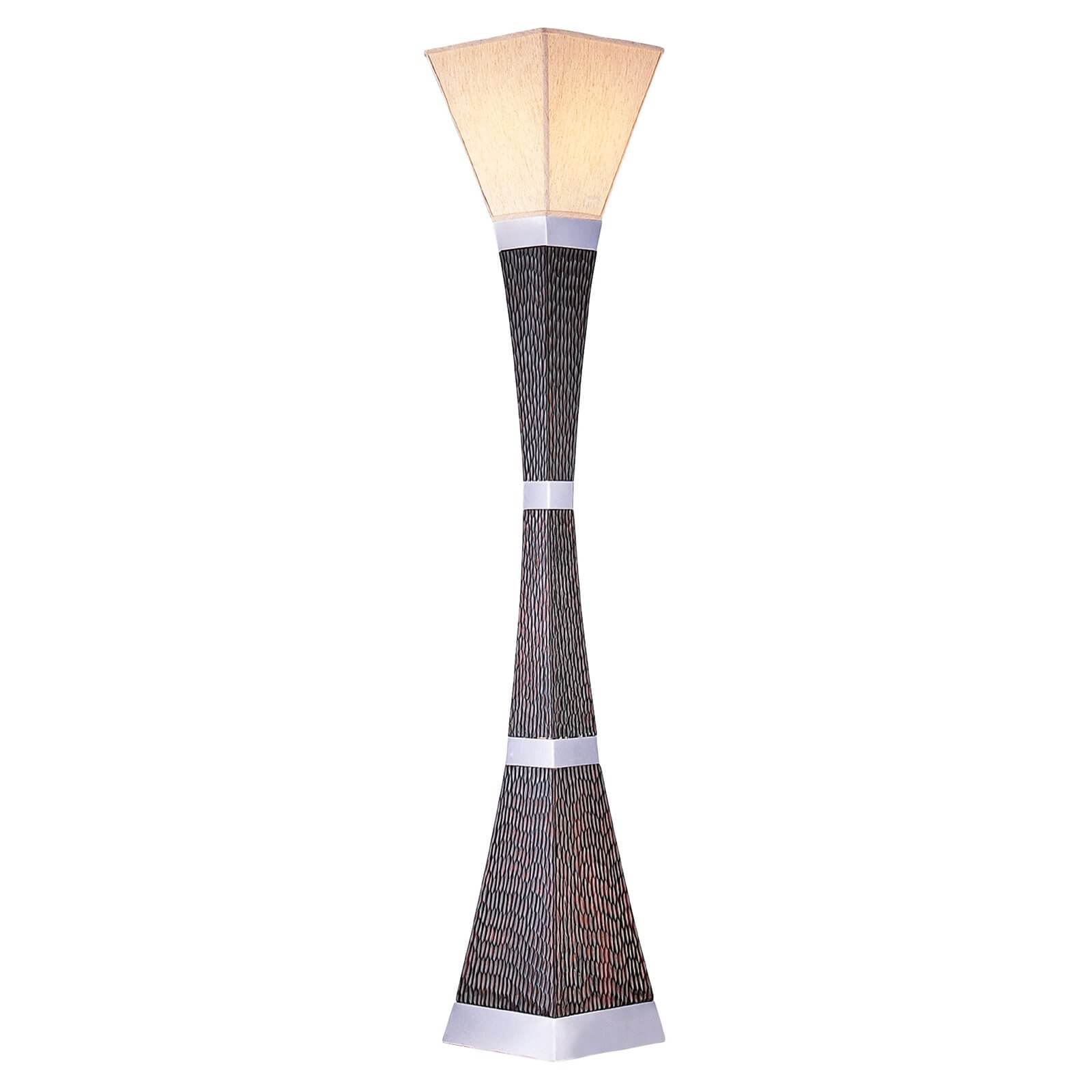 Our second torchiere lamp conveys a boldly contemporary style, with an hourglass shape crafted in textured wood and metal.