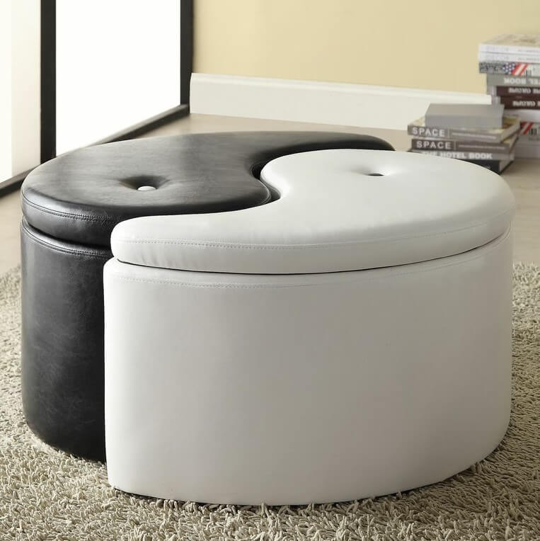 The yin-yang ottoman has cropped up as a popular option lately. Combining to form a perfect circle, yet separating into unique, discrete pieces, the design is as attractive as its inspiration.