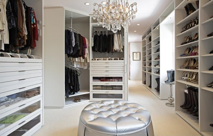 Elegant walk-in closet by Lisa Adams Closet Design.