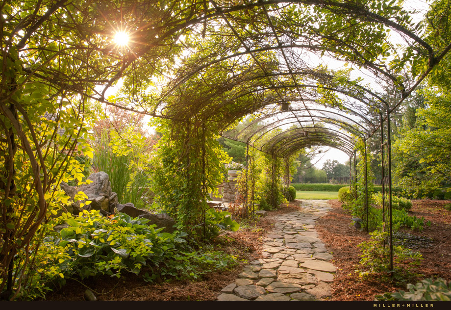 An arbor trail leads from the front yard to the backyard. A flagstone path winds through the cedar bark chips.