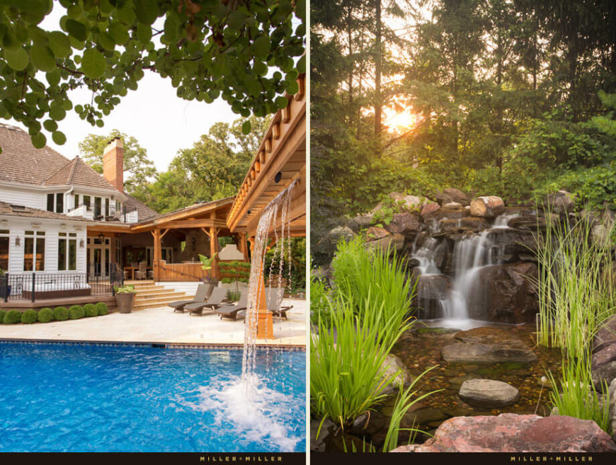 The backyard pool has an overhanging waterfall made of wood. Around the front of the home is a nature trail that includes a koi pond and stone waterfall.