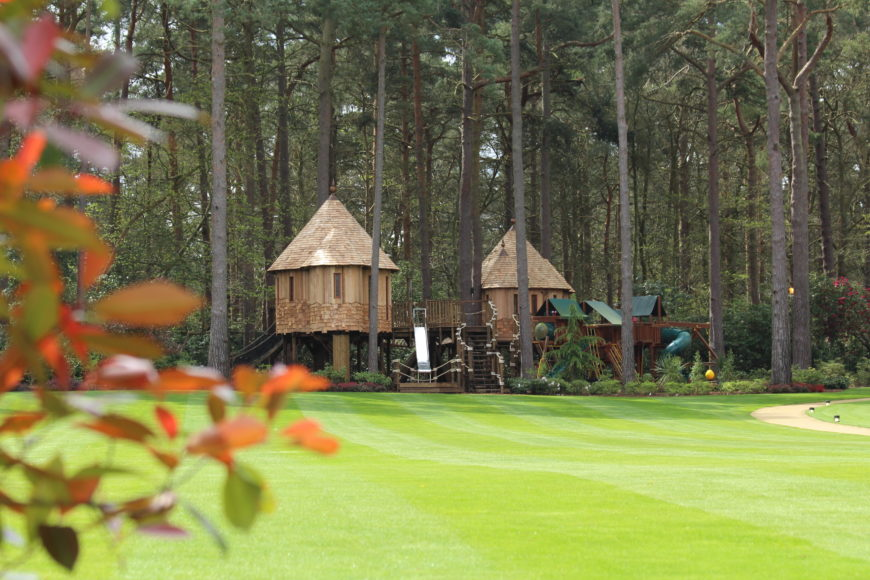 One last shot of the treehouse showing the whole complex from across the manicured lawn.