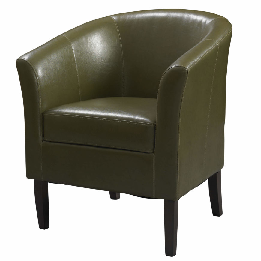 The barrel chair takes its name from the barrel-like shape formed by the back and sides. These can be upholstered in cloth, leather, or synthetics, and are often found in bold colors.