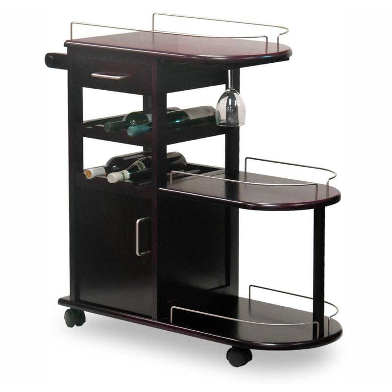 Our second wine cart is a wine themed variant of the cocktail cart, with a metal framed serving surface, glassware hangers, and small bottle storage.
