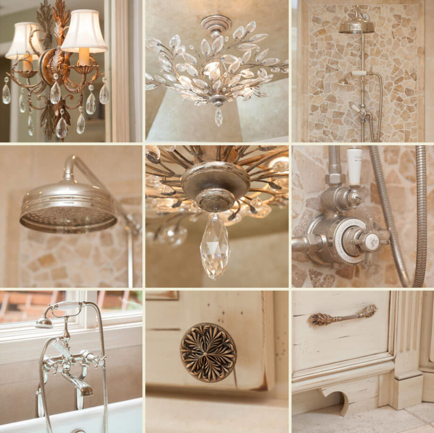 A close up of all the fantastic little details of the bathroom, including the wall sconces, chandelier crystals, sink and tub fixtures and knobs to the storage.