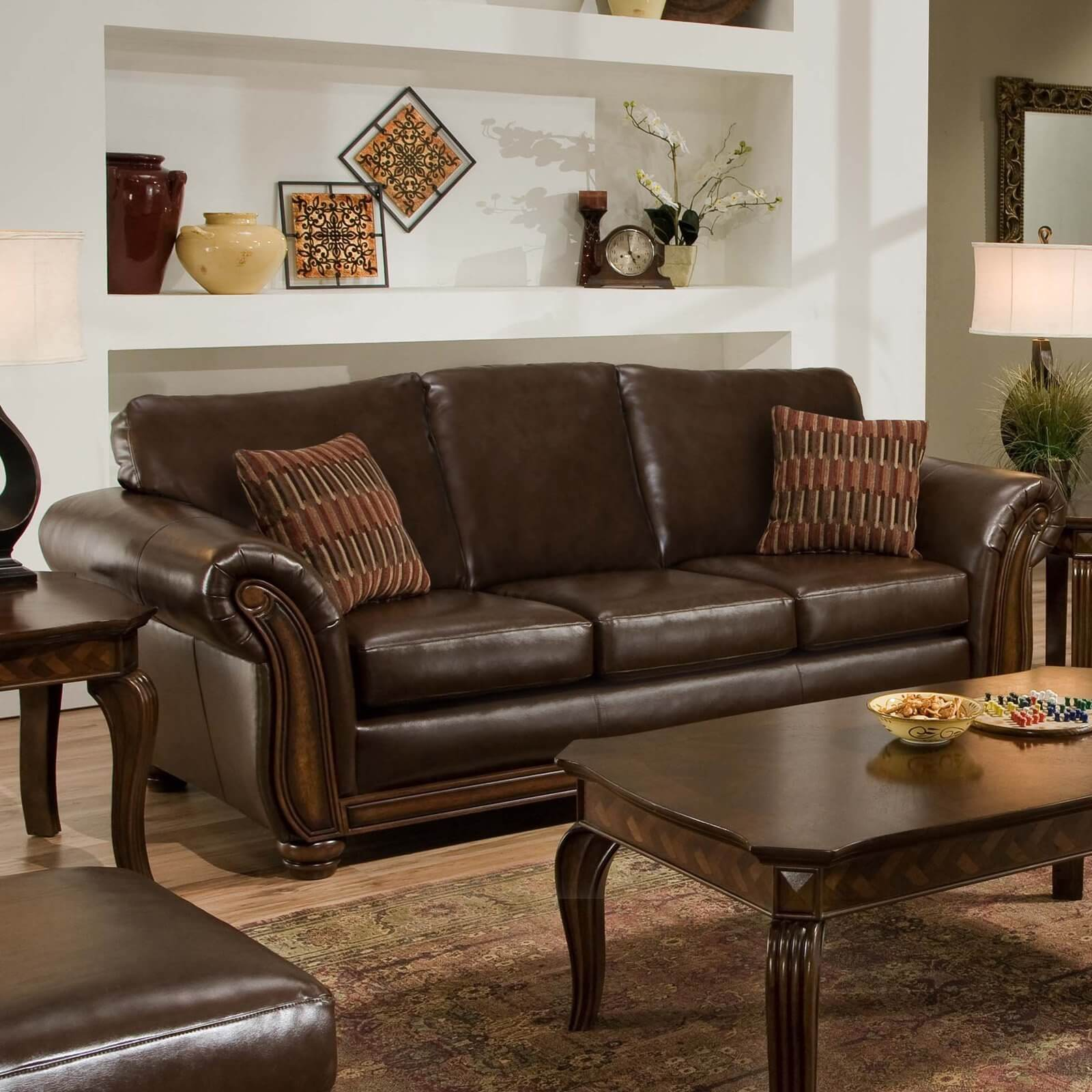 Comfortable brown leather sofa