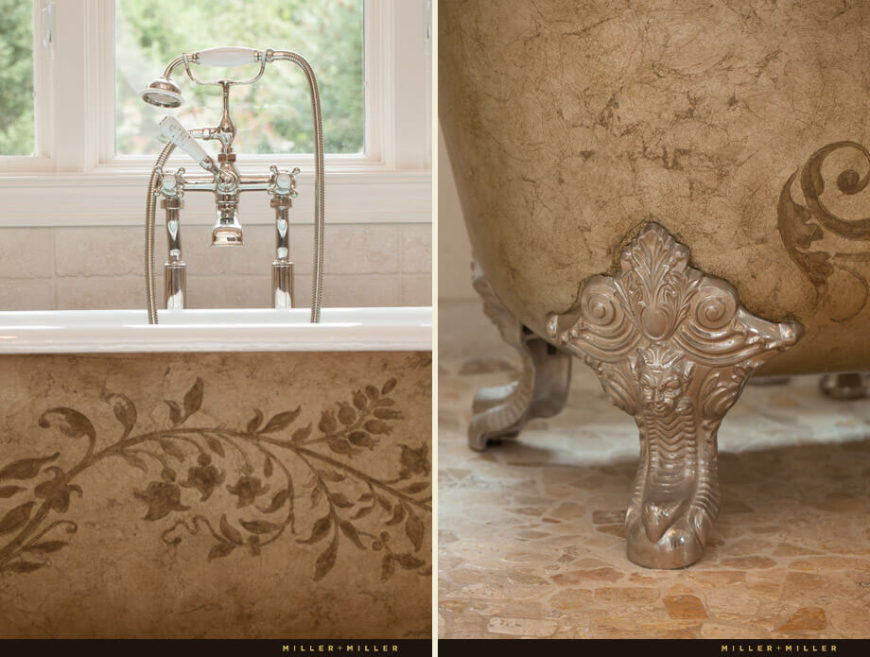 The floral and leaf patterns on the claw foot tub are shown in this pair of pictures. The tub is also textured.