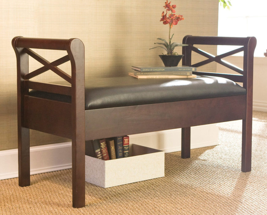 Wood head-bench with chocolate cushion