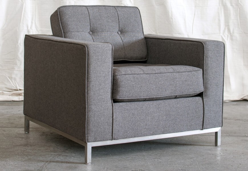 Charmant Modern Cubic Club Chair, Upholstered In Grey, Over A Brushed Metal Frame