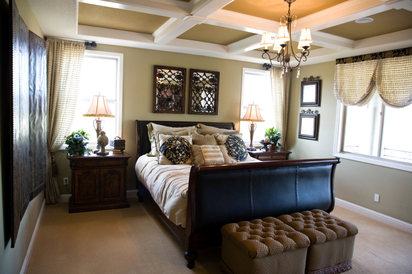 The Mixed Patterns And Textures Of This Master Bedroom Create A Varied But Comfortable Space