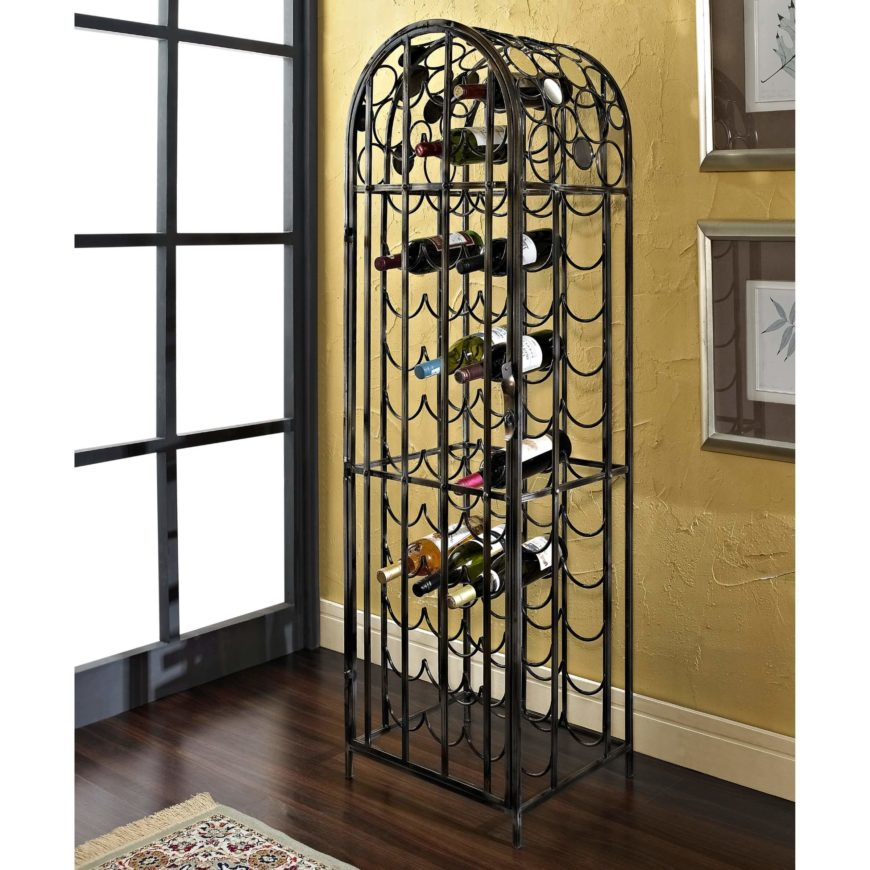 Metal wine racks are often the most materially economical models available. The metal can comprise the outer frame and wire-thin racks can hold the bottles in perfect curved shape. Some models combine materials, but all metal racks, like our example here, enjoy wide popularity.
