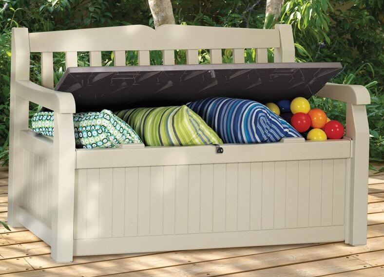 Plastic storage benches make for the perfect outdoor furniture piece. These are lightweight, weather resistant, and perfect for keeping cushions and other items dry.