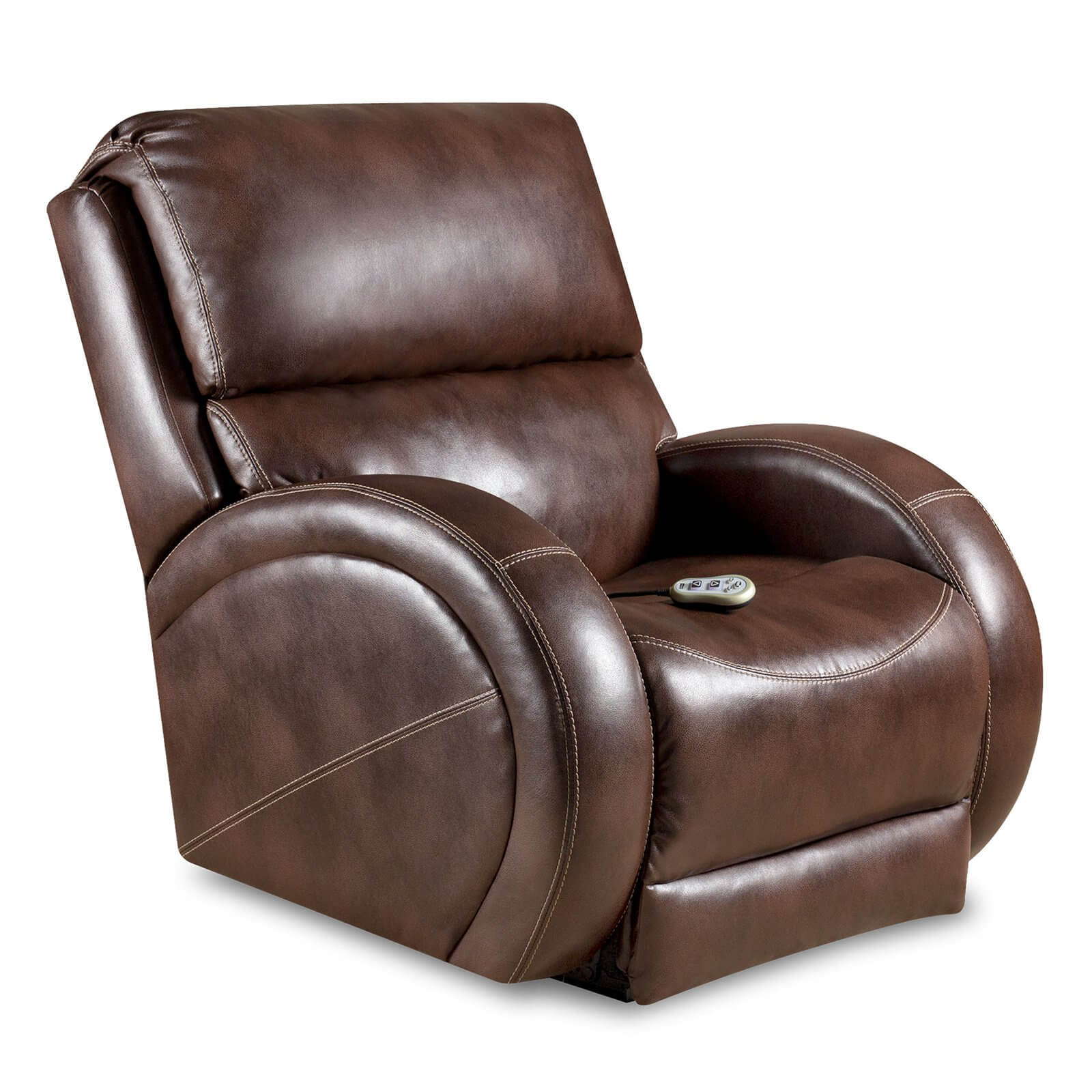 The power recliner replaces the hand cranked action of standard models with a built-in engine for raising and lowering the chair electronically. This model features a remote control function.