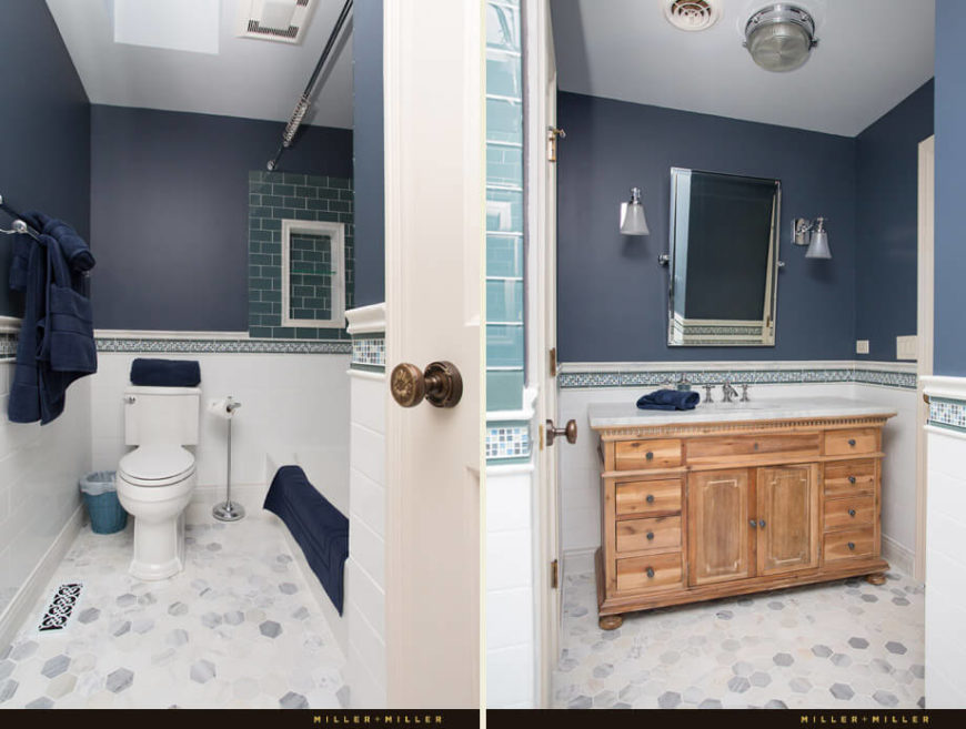 The fourth bathroom is more contemporary in design, with shades of blue in the subway tiles, floor and walls.