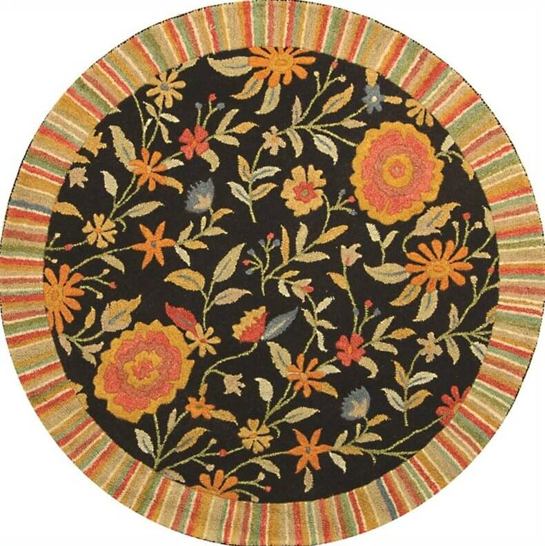 Round rugs can be the perfect centerpiece on the floor of a living room, define the space next to a bed or sofa, or simply create a focal point in any space. This floral print example features a striped outer rim design.