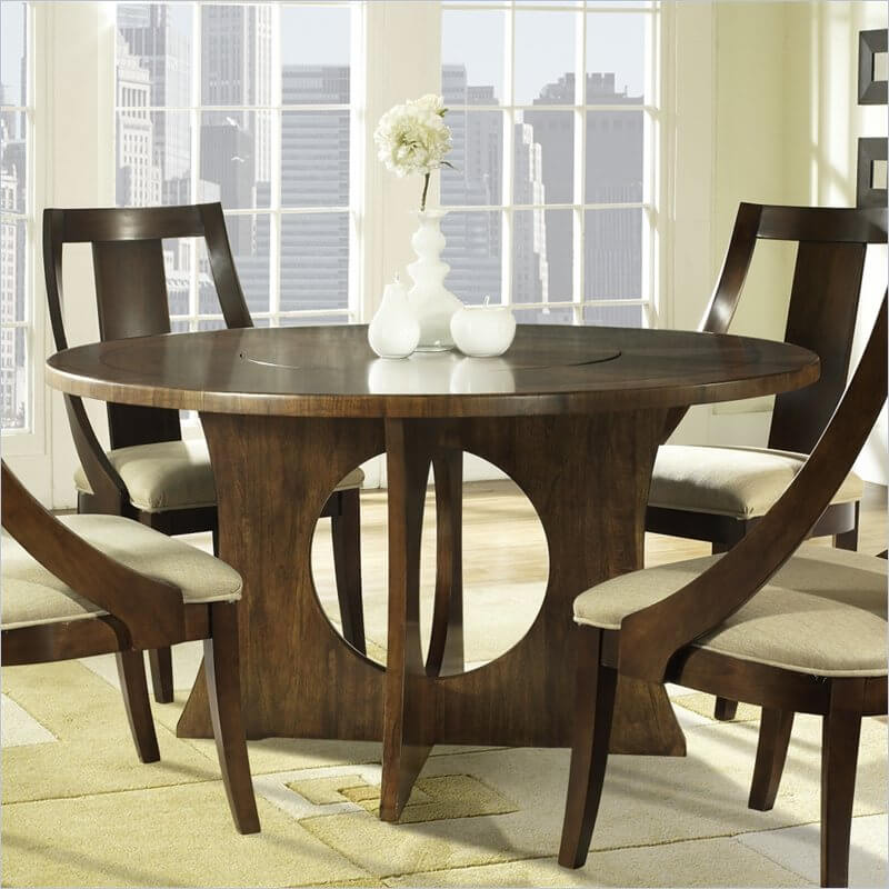 Our second round table is a striking all-wood example, with central lazy Susan built-in.