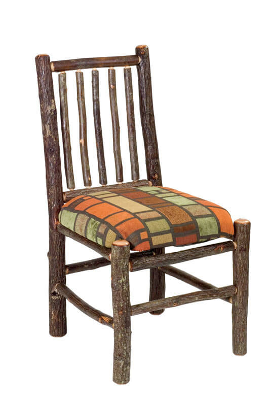 "Rustic style evokes a pastoral, old fashioned sense through unpolished natural wood, rough hewn edges, and a playfully loose design. Our featured chair consists of ""log"" style frame with patterned upholstered seat."