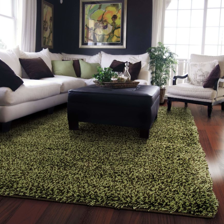 Shag rugs boast a long, thick shag that offers the ultimate in softness underfoot. These are dense rugs, great for softening the tone and walking space of any living room.