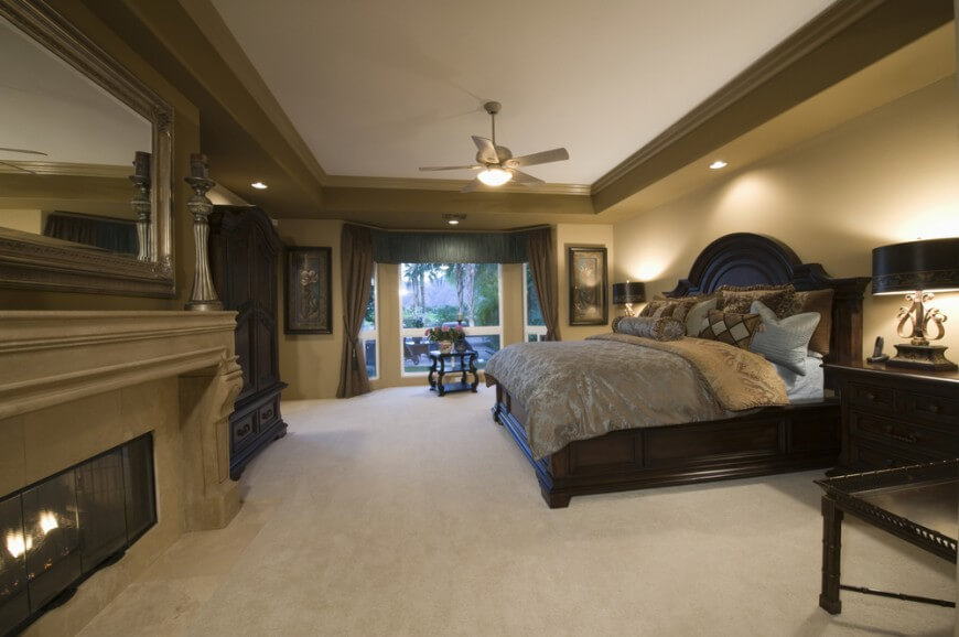 Spacious master bedroom with carpeting.