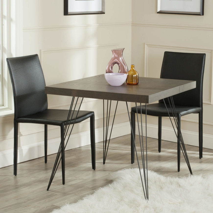 The square is the simplest table design. Four legs, equidistant from each other. These are perfect for four diners and compact spaces.
