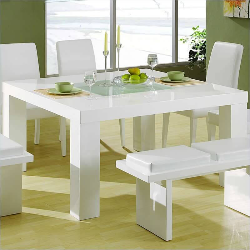 Our Second Square Table Design Features A Glossy White Surface And Ultra Minimalist Dining Room