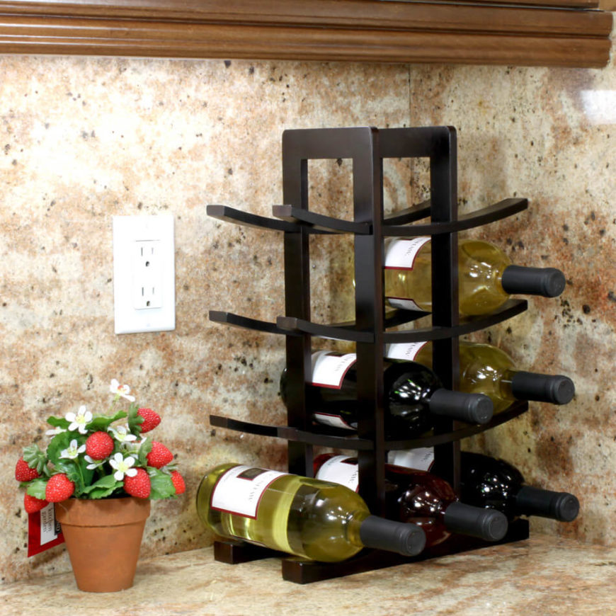 Tabletop wine racks are smaller than floor models, and thus hold fewer bottles. These are designed for convenience, easy placement, and display purposes.