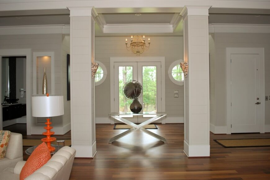 The Subtle Lines On The Walls And Columns Add Visual Interest To The Light  Taupe Paint