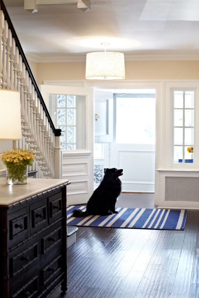 The home has a primary entryway, separated from the foyer by a door with a seamless glass panel. The door is flanked by two narrow windows.