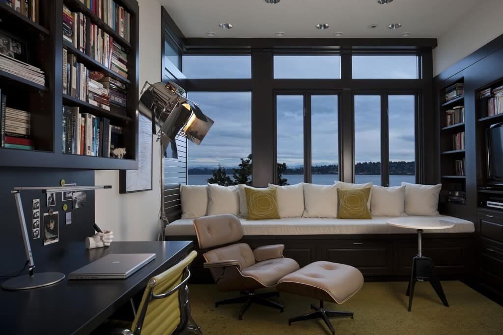 this high contrast contemporary office features grand lake views