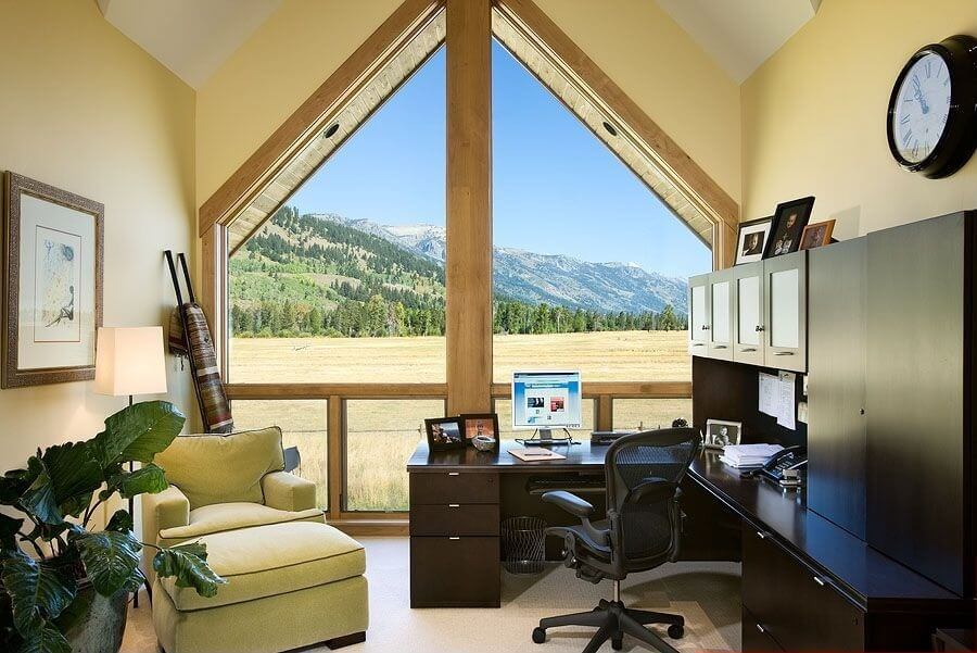 150 luxury modern home office design ideas pictures for Bay window shaped desk