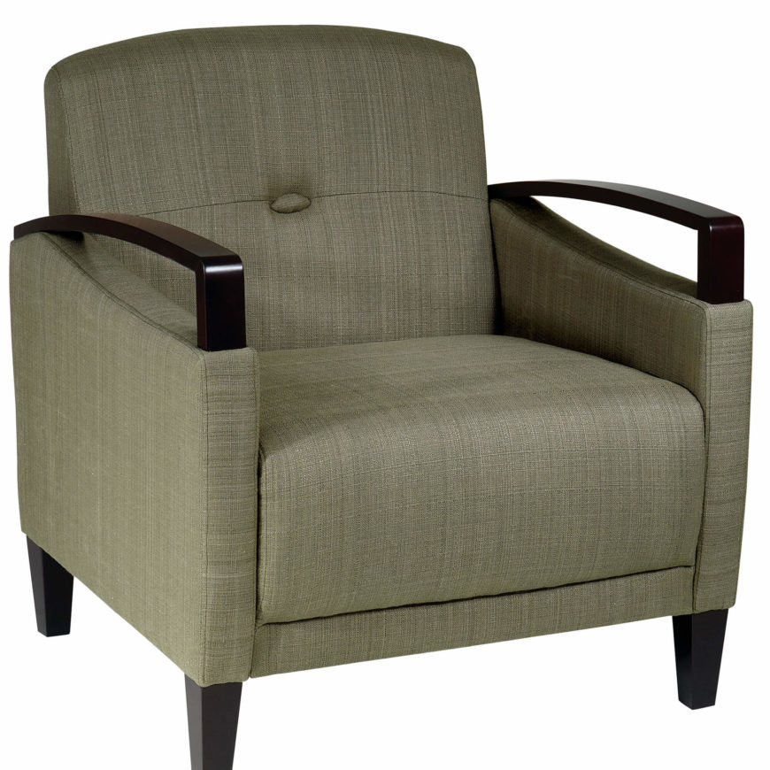 This Uniquely Contemporary Accent Chair Features A Textural Fabric  Upholstery And Dark Stained Wood Exposed Armrests